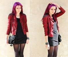 Athousandchapters Vintage Diy Spiked Blazer, None Black Velvet Purse  -love the idea of a red jacket over an outfit to make it more grunge :)