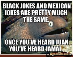 Black jokes and Mexican jokes are pretty much the same. / Once you've heard juan you've heard jamal.