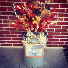 Fall DIY home decor made out of a milk can