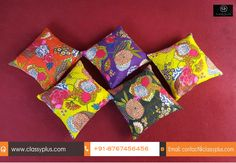 This handmade multicolour 5 piece cushion cover set with hand embroidery Jaipuri design and thread work. Stylishly outline cushion cover will match the vibe of your home. Every cover is decorated with matching work using cotton fabric. The delightfully decorated with multicolour thread weaving work change the cushion cover into artful culmination.