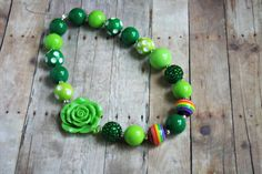 St Patricks Day Baby Necklace Chunky Bead by BoundlessBlooms