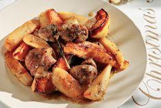 Μαριναρισμένο χοιρινό με μελωμένες πατάτες και κυδώνια