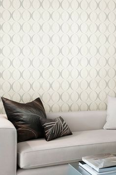 Circulate White Retro Orb Wallpaper by Brewster Home Fashions on @HauteLook