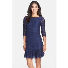 Women's Darling 'Alma' Ruffle Hem Lace Shift Dress