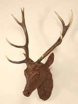 Bambi's father!  Rare original antique French cast iron deer/stag wall trophy mount from 1st Dibs.