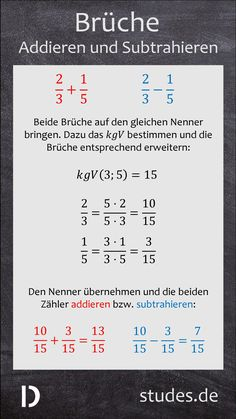 Add and subtract fractions: To add or subtract two fractions to Mathematik School Hacks, School Fun, Teaching Kids, Kids Learning, Add And Subtract Fractions, Add Fractions, Online High School, American High School, Physics And Mathematics