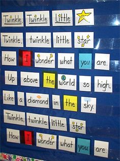 """LEARN TO SING AND SIGN with this VIDEO CLIP: """"Twinkle, Twinkle Little Star"""" makes a lovely performance song through the seasons. Pocket charts provide great visual support for the words of favorite songs and rhymes. Kindergarten Poetry, Kindergarten Anchor Charts, Kindergarten Language Arts, Kindergarten Classroom, Learn Singing, Singing Tips, Singing Quotes, Abc Phonics, Teaching Tips"""