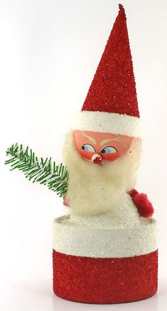 1950s Vintage Christmas Candy Holder, German, Paper Mache and Coconut Glitter, Free Shipping
