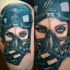 Pilot tattoo by Marcos! Limited availability at Revival Tattoo Studio. Pilot Tattoo, War Tattoo, Skull Tattoos, Body Art Tattoos, Cool Tattoos, Aviation Tattoo, Apocalypse Tattoo, Tatuaje Trash Polka, Gas Mask Tattoo
