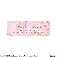 Pink Gold White Marble Return Address Labels
