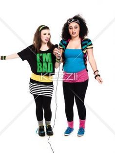 beautiful young women singing on microphone. - Beautiful young women singing on microphone over white background, Model: Taylor Chmiel and Megan Butt
