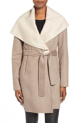Elie Tahari Elie Tahari 'Mala' Hooded Wool Blend Wrap Coat