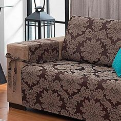 Protetor De Sofá 2 Lugares - Com Laços - Tecido Jacquard- Tabaco