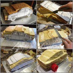 Resultado de imagem para body men sculpture as cake tutorial Bmw Cake, Jeep Cake, Race Car Cakes, Truck Cakes, Cake Decorating Techniques, Cake Decorating Tips, Fondant Cakes, Cupcake Cakes, Fondant Bow