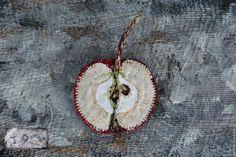 """Купить Текстильная бохо брошь """"Середина Яблока"""" - яблоко, брошь яблоко, фруктовая брошь"""