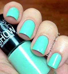 Maybelline: ★ Green With Envy ★ ... a pale pastel green creme nail polish