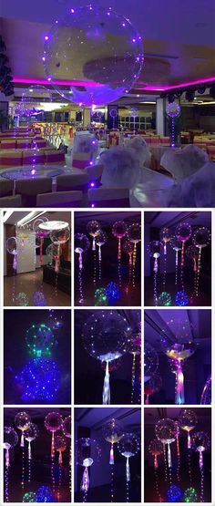Festive and Party Supplies.Balloon with LED String Lights.Party Decoration Festive and Party Supplie Clear Balloons, Balloon Lights, String Lights, Neon Lights Party, Glitter Balloons, Balloon Decorations Party, Birthday Decorations, Party Themes, Ideas Party