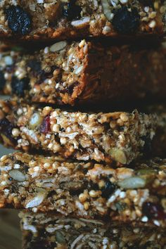 quinoa seed granola bars ina stack close up