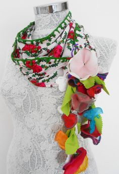 Turkey scarf ethnic spring flowers leaves by Nazcolleccolors, $32.00