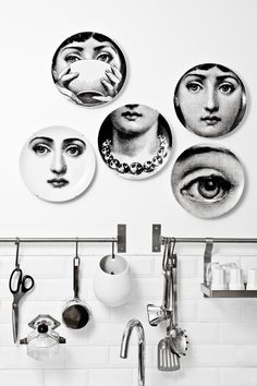 Monochrome Fornasetti plates are perfect for modern, cheeky wall decor Plate Wall Decor, Plates On Wall, Plate Design, Küchen Design, Paris Bordeaux, Bordeaux France, Magazine Deco, Decoracion Vintage Chic, Decorative Accents