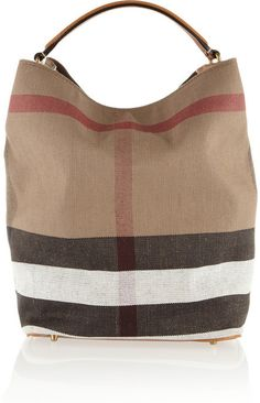 Burberry Shoes & Accessories Checked canvas hobo bag on shopstyle.com