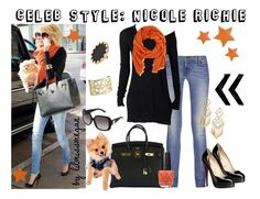"""""""Celeb Style: Nicole Richie"""" by lilmissmegan ❤ liked on Polyvore featuring J Brand, Barneys New York, Christian Louboutin, Hermès, House of Harlow 1960, Tory Burch, Versace, Wallis, Bebe and OPI"""