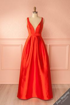 Ranya Passion Red Silky Maxi Gown | Boutique 1861