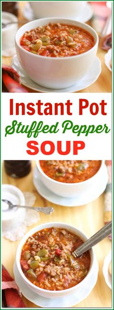 Do you love #stuffedpeppers? This Instant Pot #StuffedPepperSoup Recipe combines all your favorite stuffed pepper ingredients into a soup version adding in sausage for a little extra flavor and spice. Everything is easily cooked in the Instant Pot making clean up a breeze!