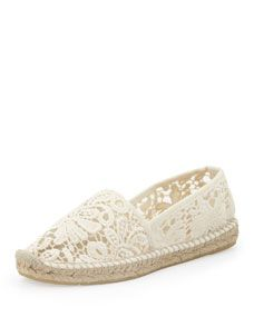 Tory Burch Jackie Flat Lace Espadrille, White