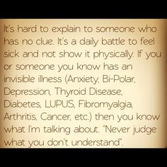 Never judge what you don't understand. Thyroid. Thyroid disease. Thyroid disease awareness. Hypothyroidism.