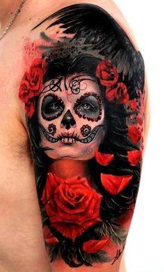 ... ART PRINT, The Piper, Dia de Los Muertos Lowbrow Day of the Dead Art