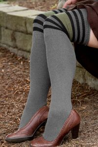 Dreamy Striped Tubes - Wear these over the knees or inside out and doubled over for knee highs.  Ribbed, striped cuffs are uniquely Dreamy, followed by terry insides down to the toes.  We tried them, we LOVED them, and hopefully you will too!  Made in the USA.