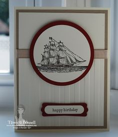 Stampin Up The Open Sea, Masculine, male Card, Birthday, Stripes Embossing Folder, Circle Framelits