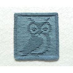 Blue Denim OWL Kitchen Dishrag or Designer Wash Cloth by Aunt Susan. Exclusive design only available at Aunt Susan's Closet. Great small gift idea for college students, teachers, and owl lovers. Baby Knitting Patterns, Knitting Stitches, Hand Knitting, Knitting Ideas, Dog Lover Gifts, Dog Gifts, Baby Chart, Woodland Animals Theme, Owl Kitchen