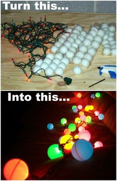Ping Pong Ball lights! Drill hole in balls and add a little glue to hold the balls on the lights.
