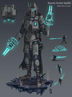 Bounty hunter Apollo by Wolfdog-ArtCorner on DeviantArt Futuristic Armour, Futuristic Art, Robot Concept Art, Armor Concept, Star Wars Clone Wars, Star Wars Art, Star Wars Characters, Fantasy Characters, Fantasy Character Design