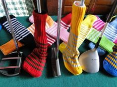 Club Shop Peanuts & Golf knitted golf headcovers. Over 75 color combinations in striped and solids. Choose your school team or just your favorite color. These awesome headcovers are made in America! The best part about these are they will fit on every club in your golfbag from your putter to your driver and everything in between. They make great gifts too! Check them out!   #madeinamerica #schoolcolors #knit #knitted #golfheadcovers #custom #golf #schoolteam #onesizefitsall