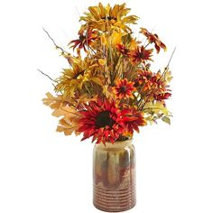 Pier 1 Imports Faux Sunflower Potted Arrangement ($60) ❤ liked on Polyvore featuring home, home decor, floral decor, flowers, fall flowers, plants, thanksgiving, backgrounds, pier 1 imports and flower arrangement