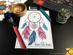 Inkspirations for Recovery dream catcher coloring page colored by Adrienne at Cleverpedia. Materials used: Caran d'Ache Pablo colored pencils.