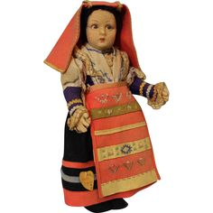 """Antique 14"""" Lenci Cerce Maggiore Tag Italian Doll National Costume from turnofthecenturyantiques on Ruby Lane"""