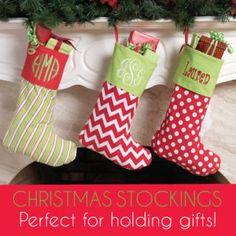 Monogrammed Christmas Stockings $23 mrsmckenziesmonograms.com
