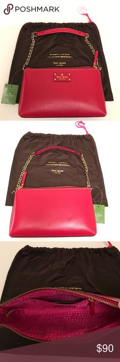 """KATE SPADE BYRD WELLESLEY RED SMALL SHOULDER BAG New Kate Spade Byrd Wellesley Leather Shoulder bag in Pillbox Red                                                                  - Genuine  leather  - Golden chain strap - Zipper closure - Kate Spade fabric lining inside - strap 9"""" drop  - 10.5 (L) x 5.5 (H) x 2 (W) inches  - 1 zip pocket 2 slip pockets New with tag!! Original Kate Spade dust bag included. 🚫 No trade 😊Thank you kate spade Bags Shoulder Bags"""
