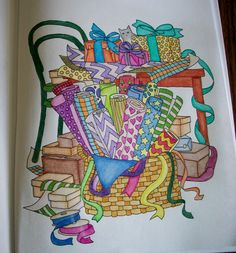Done with colored pencils - Color Me Cluttered coloring book.