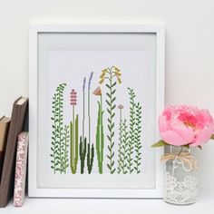 Wildflowers cross stitch pattern modern flower grass design easy beginner