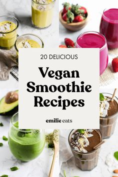Save these 20 vegan smoothie recipes for your breakfast rotation and learn how to make a healthy smoothie that will keep you feeling satiated Vegan Smoothie Recipes, Vegan Breakfast Recipes, Eat Breakfast, Vegan Snacks, Fruit Recipes, Vegan Recipes Easy, Healthy Smoothies, Healthy Snacks, Snack Recipes
