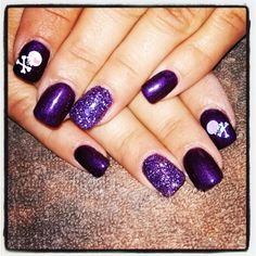 Purple shellac with glitter and skulls