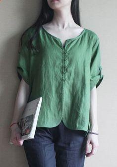 Green Linen women shirt top oversize pullover blouse