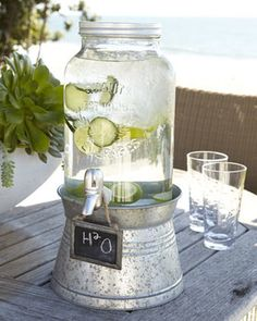 'Oasis' Beverage Server with Galvanized Stand - contemporary - serveware - Neiman Marcus