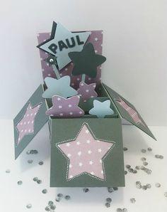 carte félicitations naissance pop-up étoiles garçon gris parme bleu ciel faire part original5