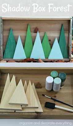 I love making decorations for holidays and seasons that can be interchanged, so I came up with this simple Shadow Box Forest for Christmas and Winter. It is the perfect project to ease me into Wooden Christmas Decorations, Christmas Wood Crafts, Christmas Projects, Holiday Crafts, Christmas Diy, Winter Wood Crafts, Diy Christmas Shadow Box, Yule Decorations, Christmas Signs Wood